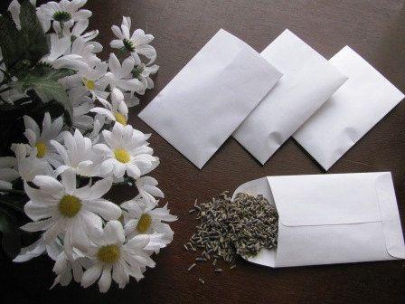 100 lavender filled white envelope favors for lavender wedding toss