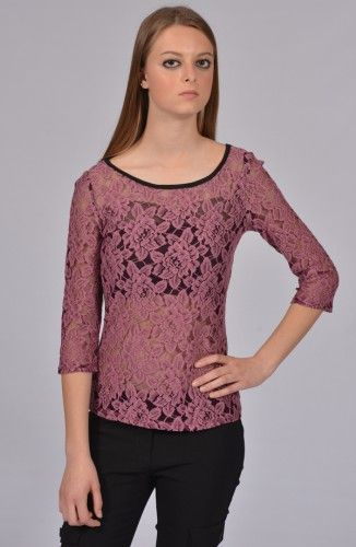Black Dusty Pink Lacy Top-California Collection