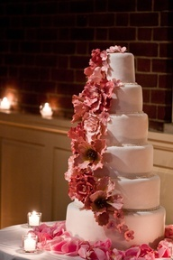 Gorgeous cascading pink floral wedding cake