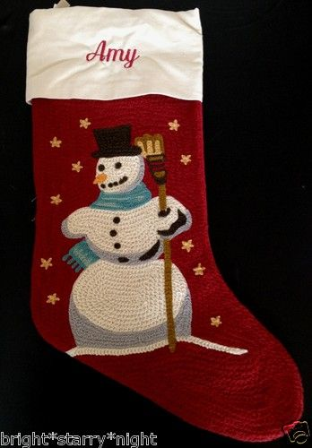 Pottery barn crewel embroidered christmas stocking *amy* snowman red