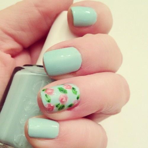 Mint + Floral nails