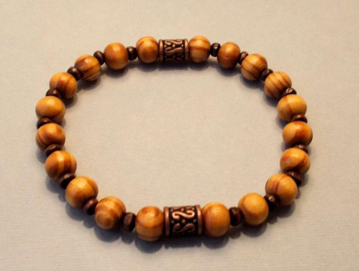 Men's Burly Wood Stretch Bracelet by fancyfreeboutique on Etsy