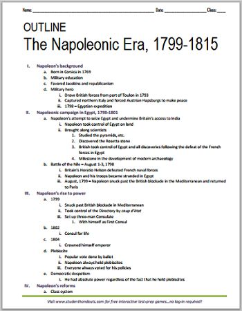 Napoleonic Era, 1799-1815 - Free printable outline for World History students in grades 7-12.