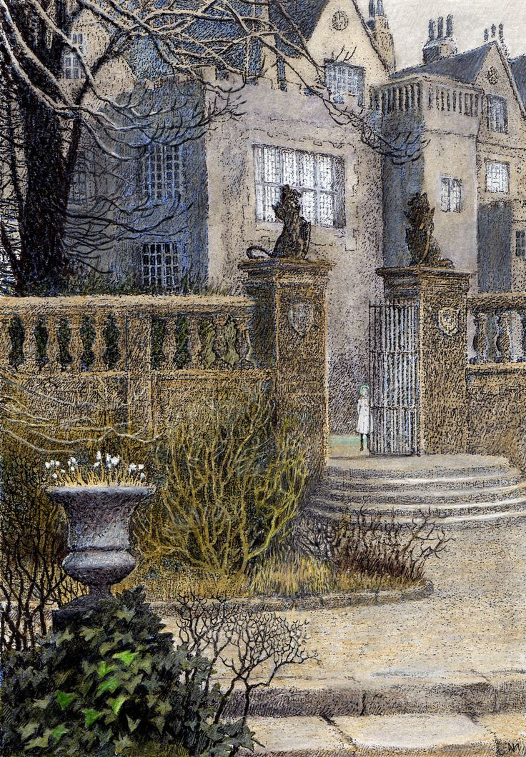Misslethwaite Manor  by Inga Moore - an imagined home, but I always loved the idea of arriving at Misslethwaite on a cold and rainy night....