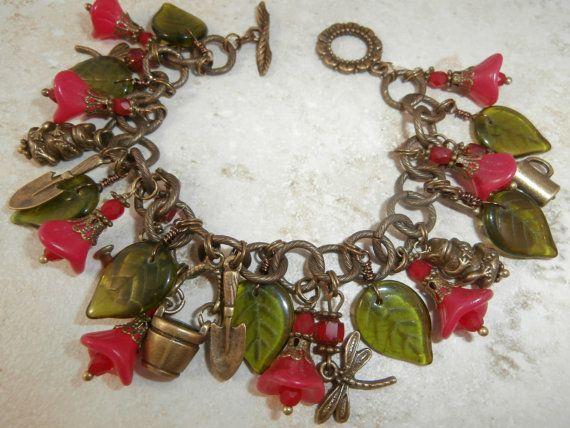 Mothers day. Antique Brass Garden Charm Bracelet by BCBeadery on Etsy, $35.00