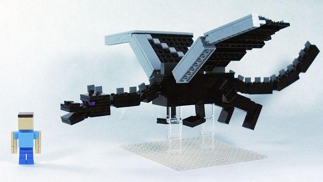 LEGO Minecraft Ender Dragon (3-scale) w/ Steve   Flickr - Photo Sharing!