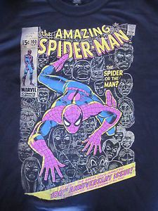 Spiderman-Marvel-Comics-Large-100-Cotton-T-Shirt-Black