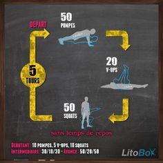 Entraînement type CrossFit au poids du corps : 5 rounds de : 50 pompes, 20 V-ups, 50 squats