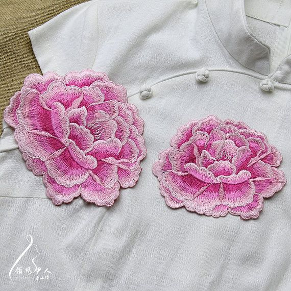 Pfingstrose Blume Applique Stickerei Patch DIY von Laceshine