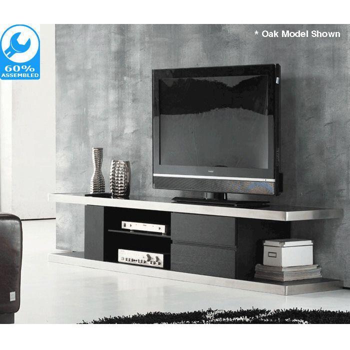 Metro TV Cabinet w/ Shelves & Drawers - Gloss Black | Buy Modern TV Units