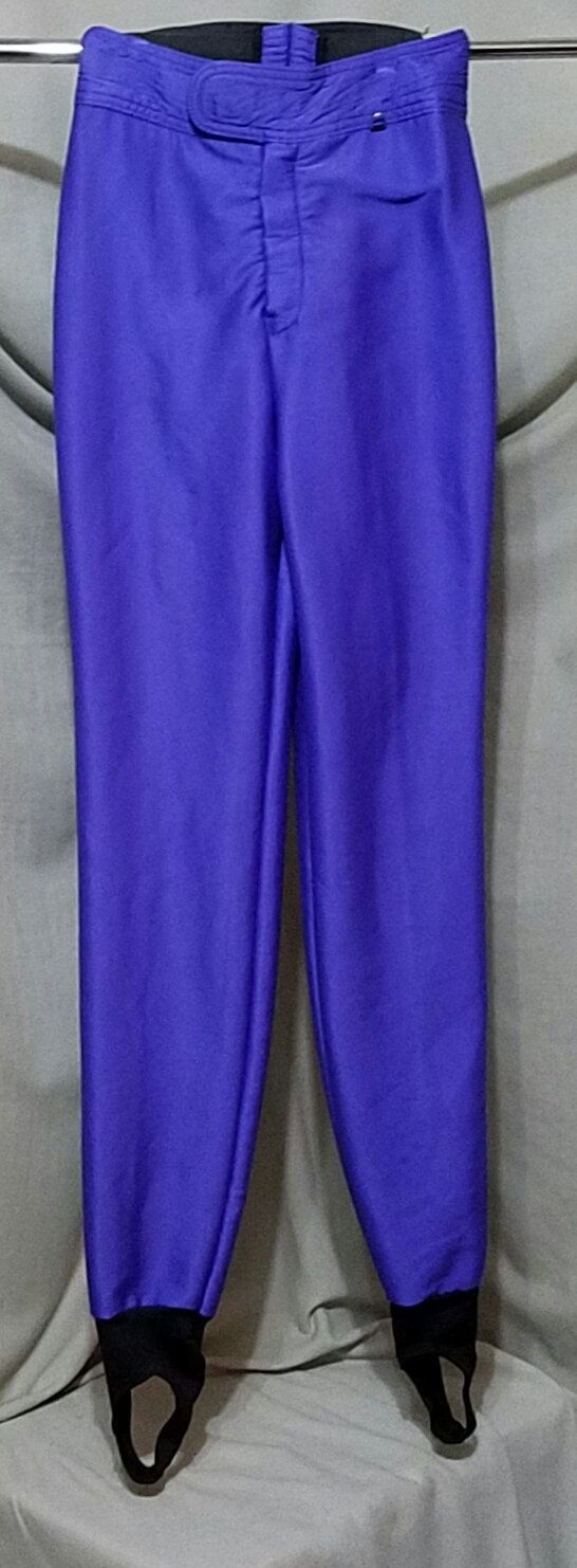 Vintage 80s Super High Rise Disco Stirrup Shiny Purple Skinny Pants Leggings Ski Pants Schoeller USA Tall Wool Blend High Waist XXS XS Small by DateNiteDigs on Etsy