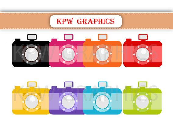 Rainbow Cameras Blue Green Pink Red Clipart PNG by KPWgraphics