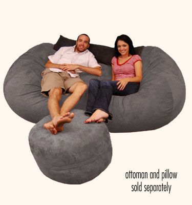 Large Bean Bag Chair -  7.5 ft Lounger Micro Suede Charcoal    When we have family and friends over it would be great if more than one person can sit! This would be one our main couches!