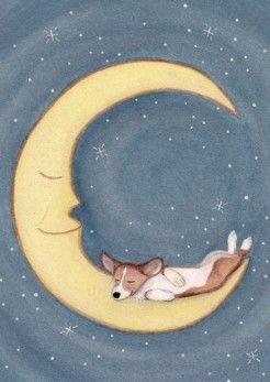 Pembroke Welsh Corgi sleeping on the moon / by watercolorqueen, $12.99