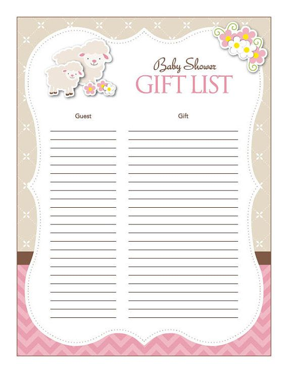 Baby Gift List For Baby Shower : Instant download little lamb theme baby shower gift list