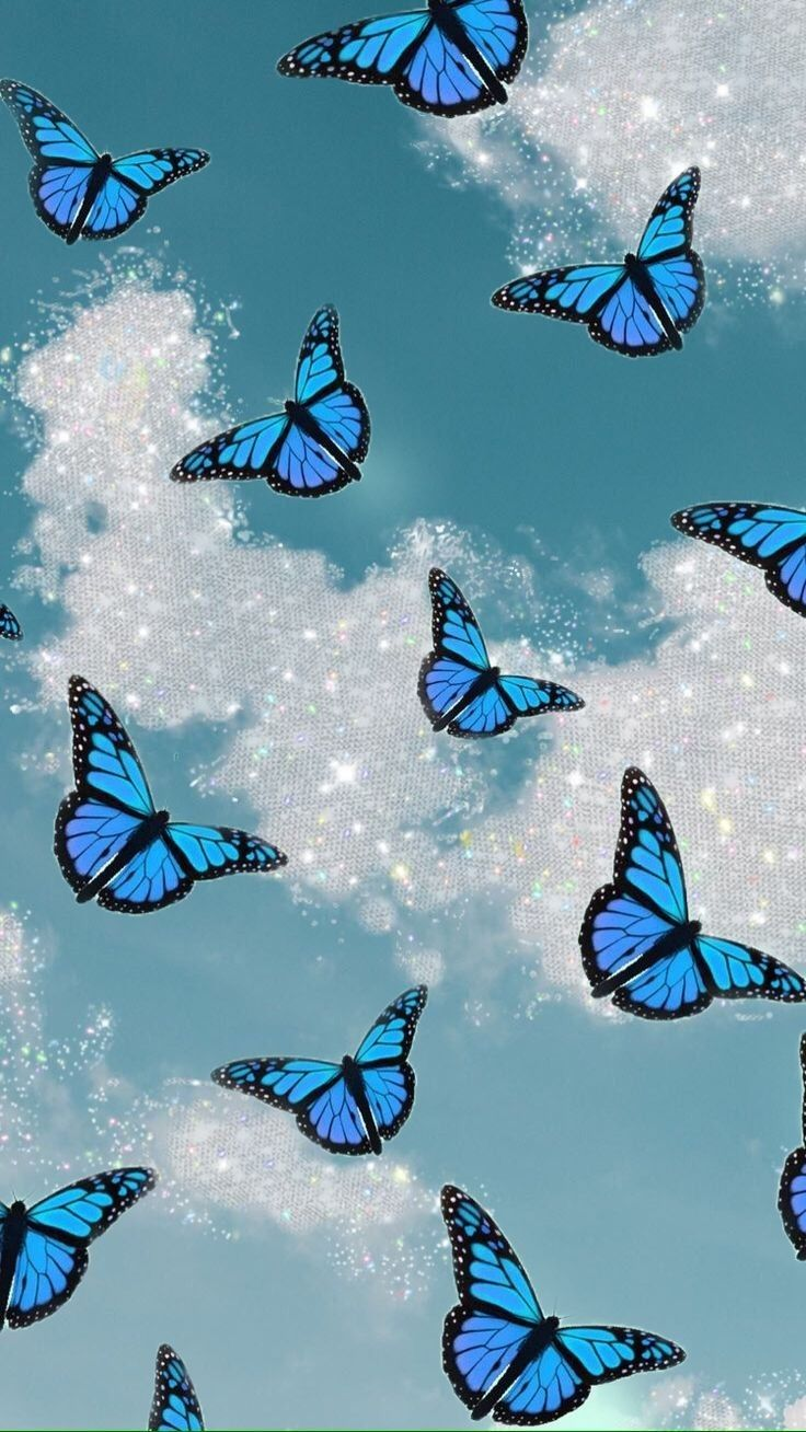 Wallpaper disney, picture collage wall, pink tumblr aesthetic, pink, art collage wall. Aesthetic blue butterflys | Blue butterfly wallpaper