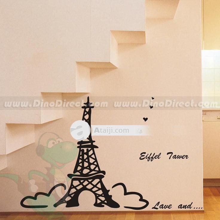 Decor Casa Pittura Murale Torre Eiffel parete in linea Sticker