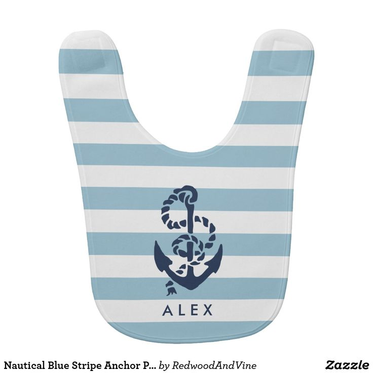 8 best los angeles clippers baby gift images on pinterest babies nautical blue stripe anchor personalized bib negle Image collections