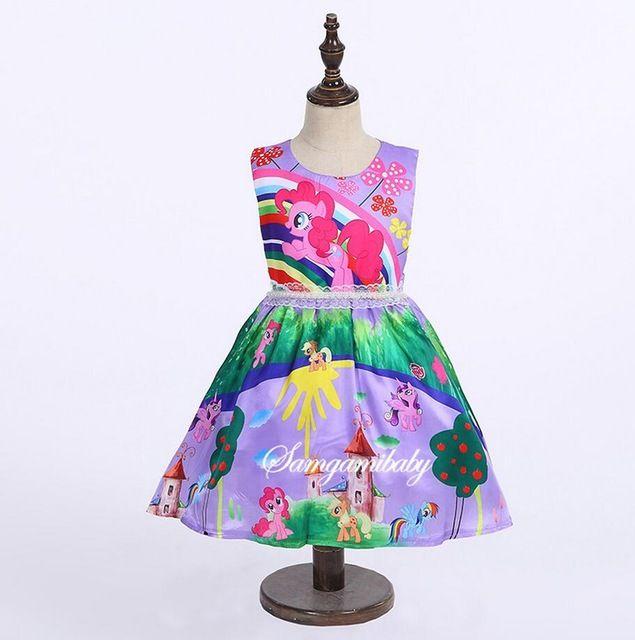 2017 Nova Roxo Crianças Vestidos Para Meninas Fantasia Halloween Costume tutu vestido dos desenhos animados little pony íris imprimir crianças prom party desgaste