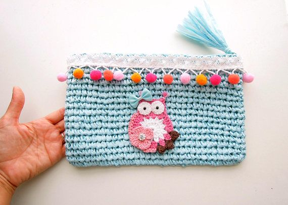 Blue Baby Diaper Purse - Nappy Blue Clutch Bag - Pom Pom Nappy Wallet - Faux Raffia Diaper Clutch - Blue Nappy Pouch - Owl Nappy Bag