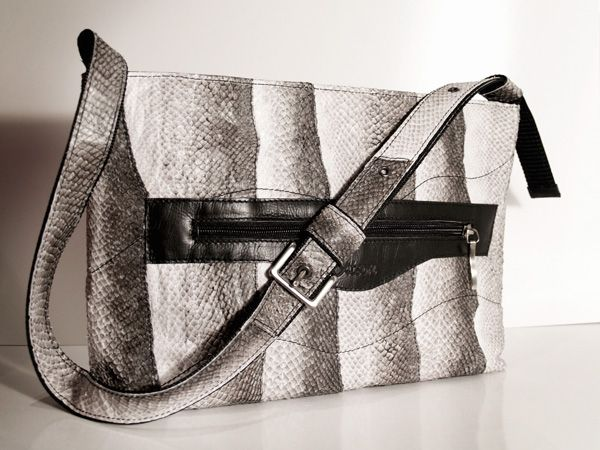 Handbag made of leather and fish skin