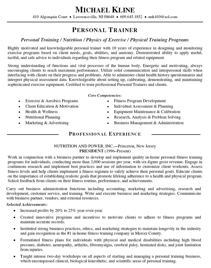 Personal Trainer Resume Sample - http://resumesdesign.com/personal-trainer-resume-sample/