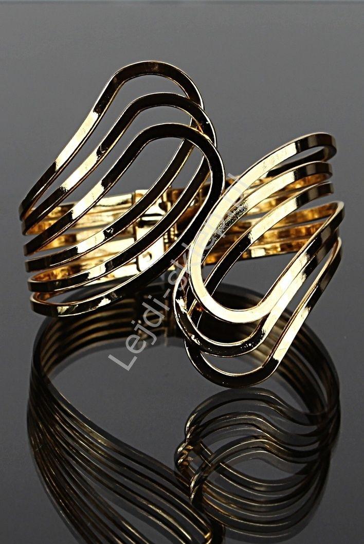 Metalowa bransoletka w kolorze złotym