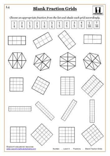 Blank Fraction Grids Maths Worksheet