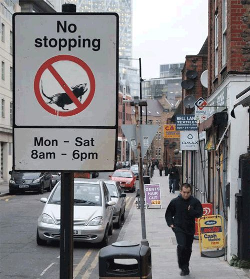 """""""No stopping"""" - the rate race of everyday life - Street Art Comes Alive in Banksy GIFs"""