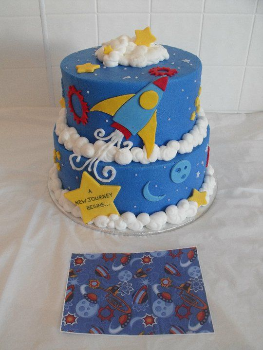 Rocket Themed Baby Shower Cake.