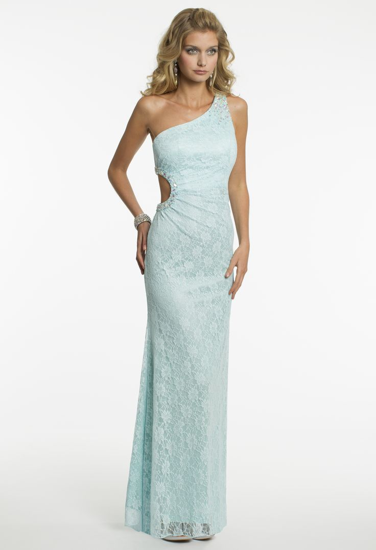 Camille La Vie One Shoulder Lace Prom Dress with Side Cut Out