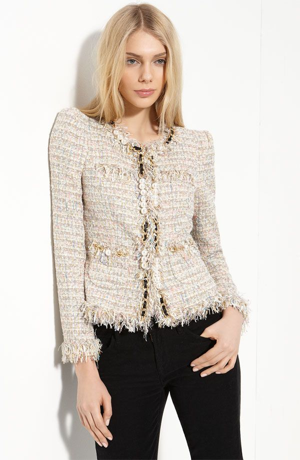 "mcginn ""elizabeth"" boucle jacket w/ pearls chanel look-alike"