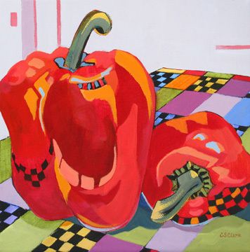 contemporary painting of red bell peppers by Carolee Clark