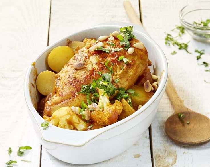 Aardappelcurry met kip en bloemkool