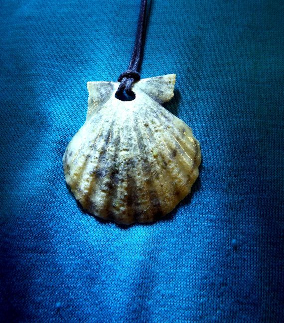 Handmade real scallop seashell pendant with watery blue/green hues.