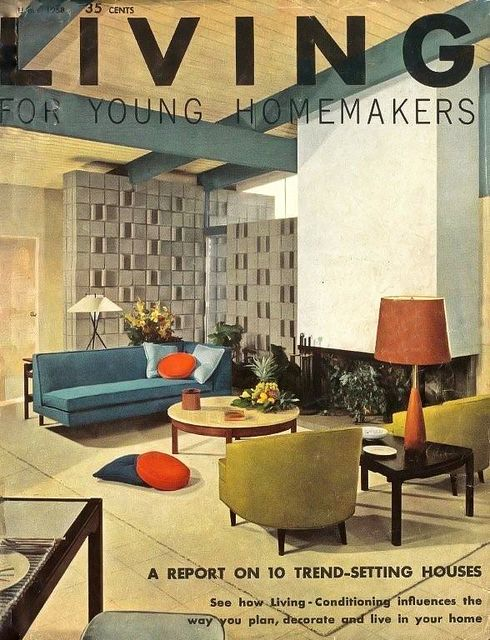 Residing For Younger Homemakers, 1958. Mid-Century Fashionable Inside Design, Classic A…