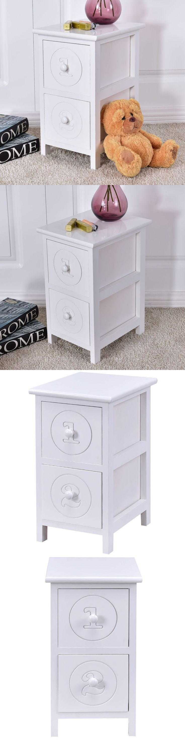 Nightstands 38199: White Wooden Bedside Table Nightstand Cabinet Bedroom Furniture Storage Drawers -> BUY IT NOW ONLY: $31.95 on eBay!