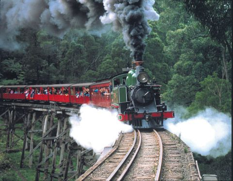 The Puffing Billy steam train is a popular tourist attraction. I can hear it blow its whistle from my home.