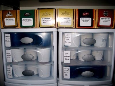 "K-Cup Storage - I use a Sterilite type stackable plastic drawer, works wonderfully and waaaaaay cheaper than one of those ""official"" k-cup holders"