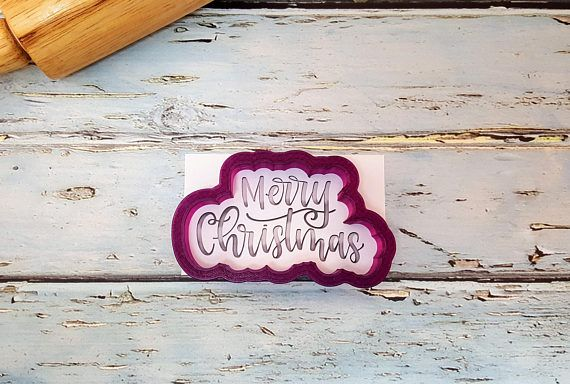 Merry Christmas Cookie Cutter. Ive teamed up with Notes by Nikki to bring this hand lettering to you! Follow her @notesbynikki on Instagram. Stencil available is for the 3.5 cutter. Stencil is from Tammy at 2Ts Stencils. This cutter comes in a variety of sizes.  OUR CUTTERS: We