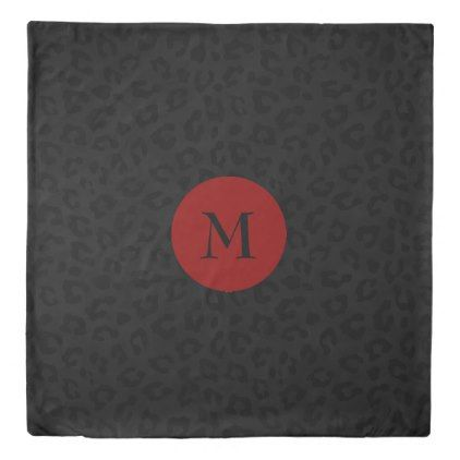 Monogram Panther Print Duvet Cover - monogram gifts unique design style monogrammed diy cyo customize