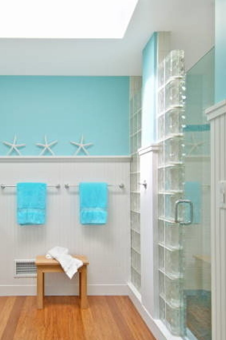 This fun nautical theme and glass block and frameless for Acrylic block shower walls