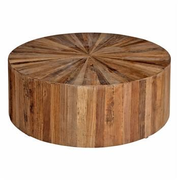 Cyrano Reclaimed Wood Solid Round Drum Modern Eco Coffee Table