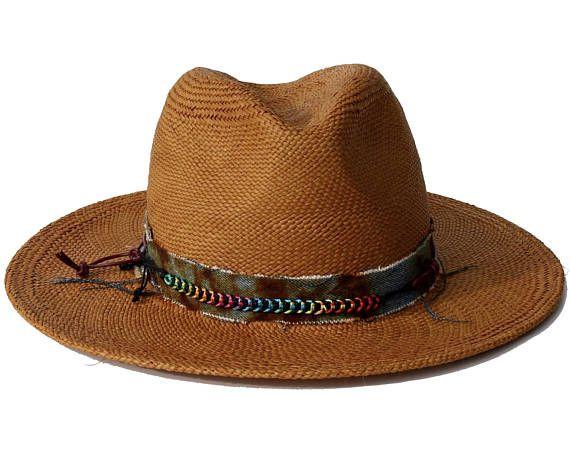 ddcdbc871 Straw Fedora Hat Handmade Hat Handwoven Straw Hat Wide Brimmed Sun ...