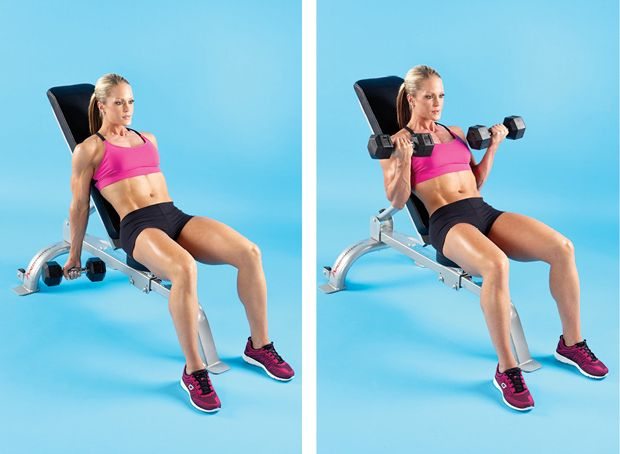 Dumbell Incline Bench curl- Set a bench to 45 degrees and sit on it with a dumbbell in each hand. Allow your arms to hang straight toward the floor with your palms facing outward. Move: Bend your elbows and raise the weights up in a smooth arc until you reach the top. Squeeze hard, then lower to the start under control. Tip: Keep your arms back with your elbows pointing toward the floor to focus the work on your biceps.