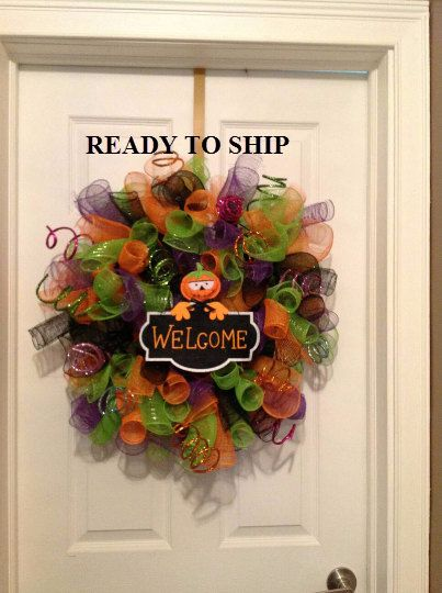 halloween wreath, fall wreath, halloween deco mesh, fall deco mesh, mesh halloween, mesh fall, halloween ribbon, fall ribbon, pumpkin wreath by CollectionsbyKG on Etsy https://www.etsy.com/listing/241052690/halloween-wreath-fall-wreath-halloween