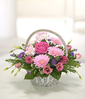 Gift of flowers - same day delivery. Standard sized basket in 'Soft' colours (other choices available). £39.00 (free delivery).