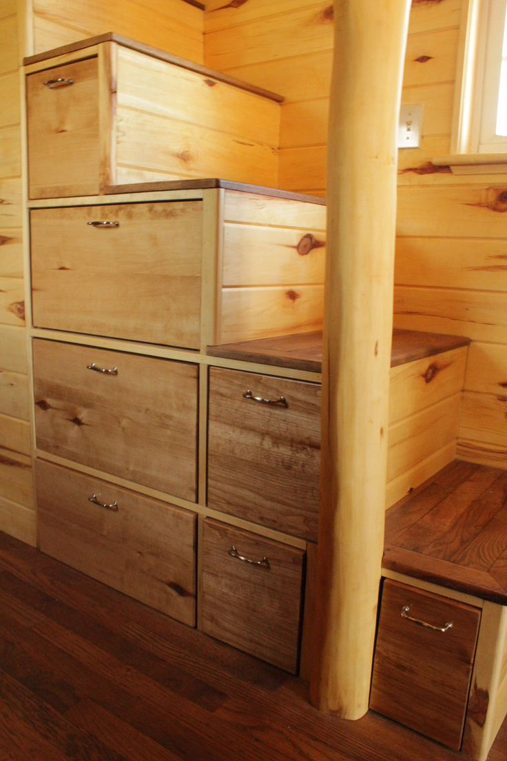 comely tiny home stairs. Love the drawers on stairs  Like this tiny house alot The dresser are fairly heavy so using a drawer pull is much appreciated 391 best Tiny Retirement images Pinterest Floor plans