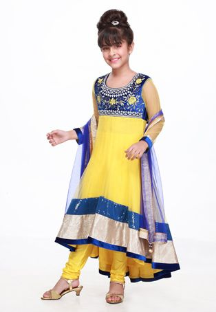Yellow and Blue Net and Velvet Readymade Churidar Anarkali Kameez