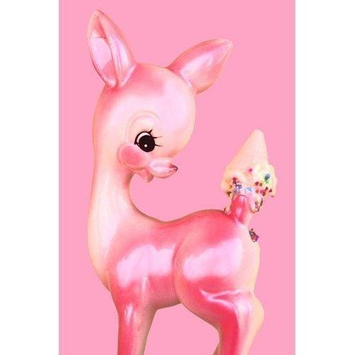 deer print pink fawn ice cream 8 x 12   OH DEER